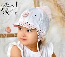 Kids Toddler Girls Floral Hat - Childrens Knitted Cotton Spring Summer TieUp Cap