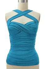 50s Style RUCHED Cross Your Heart Classic PINUP Halter Top 18 Colors! Sizes S-2X