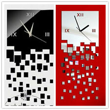 Square 3D wall clock waterproof accurate glass pointer mute cool MOSAIC Pattern