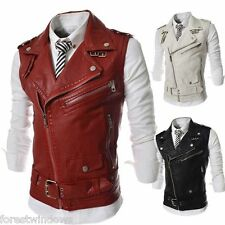 New Fashion Men Slim Multiple Zipper Large Lapel Short Leather Vest Jacket Coats