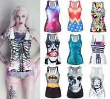 Sexy Womens Gothic 3D Printed Rock Punk Vest Tank Top T-shirt STRETCH Casual Tee