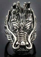 Anger Fierce Dragon Men's Silver Stainless Steel Biker Ring Size 9/10.5/12.5