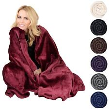 Deluxe Plush Fleece Blanket Soft Cashmere Touch Luxury Warm Home Sofa Bed Throw