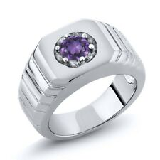 0.45 Ct Round Purple VS Amethyst 925 Sterling Silver Men's Solitaire Ring