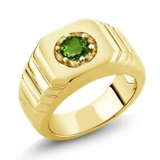 0.50 Ct Round Green SI1/SI2 Chrome Diopside 18K Yellow Gold Men's Solitaire Ring