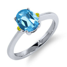 1.53 Ct Oval Swiss Blue Topaz Canary Diamond 925 Sterling Silver Ring