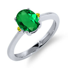 1.18 Ct Oval Green Simulated Emerald Canary Diamond 925 Sterling Silver Ring