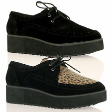 D6X Womens Girls Lace Up Creepers Platform Shoes Goth Casual Smart Ladies Boots