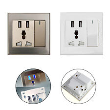 Home Wall Plate Outlet Panel Power Supply Socket Charger Switch W/ 2 USB Ports
