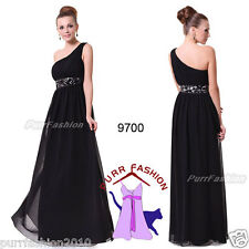 Sequins Empire Waist Ruffles Padded Chiffon Black Formal Long Dress UK 6-18