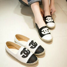 Black&White splicing lady women's loafers hemp rope casual flats slip-on shoes
