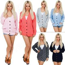 New Womens Ladies Cable Knit 5 Button Knitted Boyfriend Cardigan Size S M L XL 8