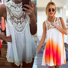 Sexy Women Lace Chiffon Party Evening Summer Ladies Short Beach Dress Cheap