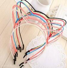 Lovely Cat's Ear Alloy Thin Headband Rose Red Black Colour Hair Band Clip