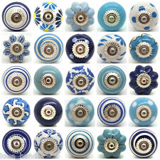 Blue White Navy Ceramic Door Knobs by Love Handle Furniture Drawer Pulls