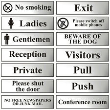 Chrome Self Adhesive Office Door Workplace Signs -200x50mm - Toilet Smoking Exit