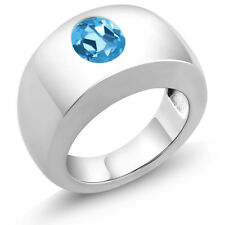 2.20 Ct Oval Swiss Blue VS Topaz 925 Sterling Silver Men's Solitaire Ring