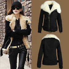 Fashion Women's Black Winter Warm Fur Coat Zipper lapel Jacket Parka Size:M L XL