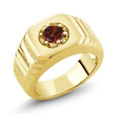 0.60 Ct Round Red VS Garnet 18K Yellow Gold Men's Solitaire Ring