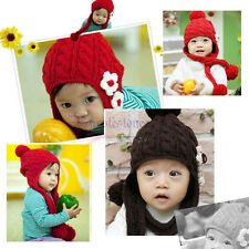 Baby Boy Girl Toddler Child Childre Kit Knitted Cap Winter Pompon Ear Flower Hat