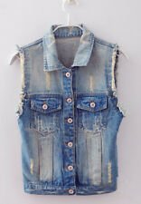 New Retro Washed Sleeveless Personalized Cardigan Women's Jeans Jacket Vest,NY64