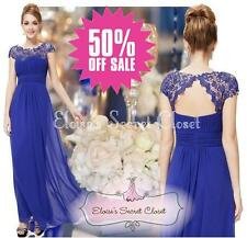 NWT KATIE Cobalt Blue Lace Full Length Prom Evening Cruise Ballgown Dress 6- 18