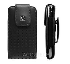 Black Vertical Leather Holster Case Pouch with Fixed Swivel Clip for Cell Phones