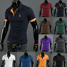 New Men's Stylish Slim Short Sleeve Casual Polo Shirts T-shirt Fashion 10-Colors