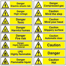 Hazard Warning Self Adhesive Danger Caution Workplace Safety Signs - 200x50mm