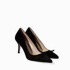 ZARA BLACK LEATHER COURT SHOES WITH A POINTED TOE SIZE UK 3-4