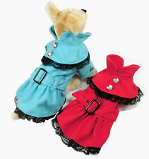 New good winter small girl dog pet clothes apparel belt woolen cloth lace dress