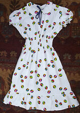 Girls summer dress Vintage 1970s UNUSED bright colours beach ball COTTON repp