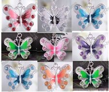 New Fashion Beautiful Enamel Silver Plated Butterfly Crystal Pendant Necklace