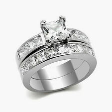 Size 5-10 10kt white gold Filled white Topaz princess cut  Wedding Ring Set gift