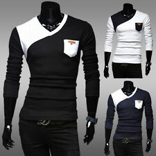 Mens Long Sleeve Primer T-Shirt Unique Splicing Design V-Neck Fashion Slim Fit