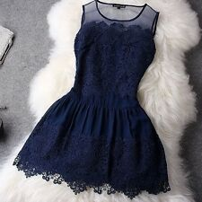 New Summer Fashion Sexy Women Ladies Round Neck Lace Mini Dress Party Evening