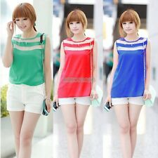 New Women Summer Sexy Candy Color Sleeveless Striped Blouses Vest Tops 4 Colors