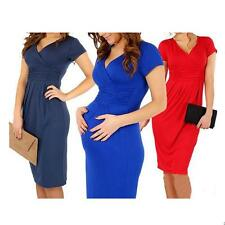 New Sexy Pregnant Women Dress Tunic V-Neck Office Stretch Maternity Dress S-XL