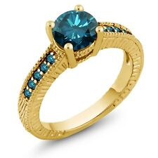 1.52 Ct Round Blue SI1/SI2 Diamond 14K Yellow Gold Engagement Ring