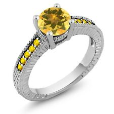 1.60 Ct Round Yellow Citrine Sapphire 925 Sterling Silver Engagement Ring
