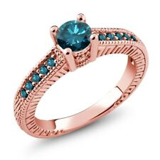 0.72 Ct Round Blue SI1/SI2 Diamond 925 Rose Gold Plated Silver Engagement Ring