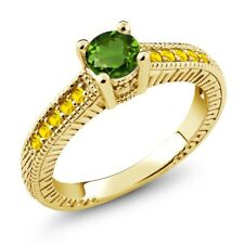 0.80 Ct Green Chrome Diopside Yellow Sapphire 925 Yellow Gold Plated Silver Ring