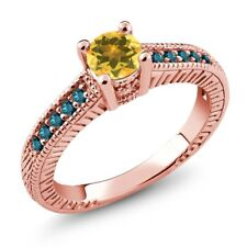 0.62 Ct Round Yellow Citrine Blue Diamond 925 Rose Gold Plated Silver Ring