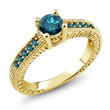 0.72 Ct Round Blue SI1/SI2 Diamond 925 Yellow Gold Plated Silver Engagement Ring
