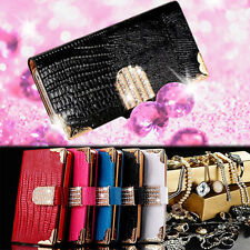 NEW Diamond Magnetic Bling Crystal PU Leather Flip Wallet Case Cover for iPhone