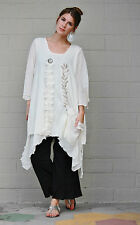 LEE ANDERSEN USA Cotton Gauze WILD WEED TUNIC Art-to-Wear Top  S M L XL  NATURAL