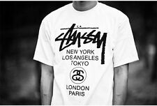 Classic 100% Cotton Vintage Street West Coast Stussy World Tour T Shirt Tee