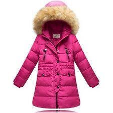 Kids Girls Fur collar Thicken long section Down Jacket 5 Color size 6-10Y