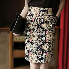 Hot Womens Fitted Business Knee Long Slimming High Waist Office Pencil Skirt DZ8