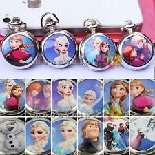 Multi-color Frozen Elsa&Anna Silver Ceramic Pocket Watch Necklace With Chain